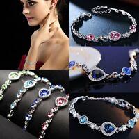 New Fashion Women Heart of Ocean Crystal Rhinestone Bangle Bracelet Gift Jewelry