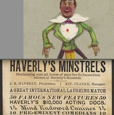 1880's Vaudeville Theater Card Haverly's Minstrels Kit Clarke Manager Dog Act