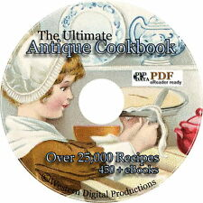 450+ eBooks 25,000 Recipes Cook Book Vintage Cooking Canning War Baking Pet Food