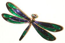 VINTAGE DRAGONFLY PIN ENAMELED GREEN & BLUE WITH GREEN RHINESTONE EYES SPHINX