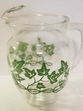 Vintage 1950's  Beverage Water Drink Pitcher Clear Glass  Green Stems Leaves Ivy