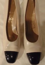 Women's Salvatore Ferragamo Black/White Leather Pumps Heels Size 7 AAAA