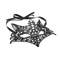 BLACK VENETIAN MASQUERADE FOX MASK EYE MASK PARTY LACE FANCY DRESS HALLOWEEN UK