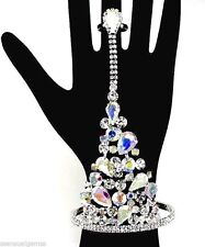 New Crystal Cluster Bracelet Women Ring Attached AB Silver Plated Slave