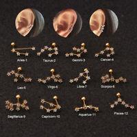 20G CZ Constellation Zodiac Barbell Cartilage Helix Tragus Ear Piercing Earring