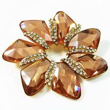 USA BROOCH using Swarovski Crystal PIN Wedding Bridal Flower Orange gold LARGE