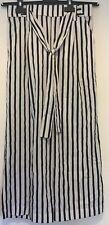 Zara Trafaluc Collection Ladies Black White Stripe Cropped Trousers Size Small
