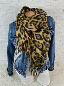 Blogger Trend kuschel Schal Tuch scarf animal Leo Leopard   Fransen  Neu