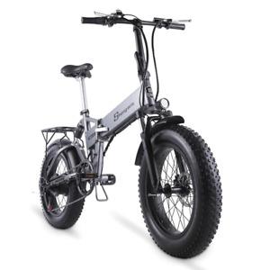 500W Folding Ebike 4.0 Fat Tire 48V Mountain Bike Beach Cruiser Bike