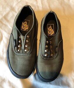 Vans Kids Slip On Shoes Olive Green Black Gold Accents Size 13.5