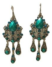 Vintage Style Chandelier Sky Blue Ethnic Fashion Earrings with Rhinestones