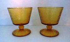 "Set 2 Mid Century Modern Amber Gold Optic Glass Sherbert Sorbet Dish 4.25"" Mint"