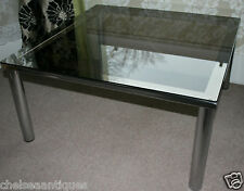 1970s Vintage HEALS COFFEE TABLE 84cm Square Smokey Glass Silver/Grey Industrial