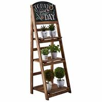 3 Tier Ladder Shelf with Chalkboard,Plant Stand Indoor Flower Pot Stand,A Framed