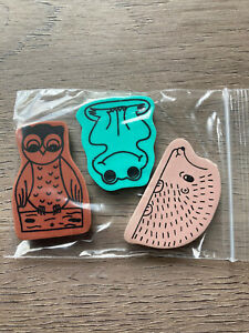 E6 Vintage 90s Erasers Rubbers Cute Vintage Woodland Animal Erasers - Frog, Owl