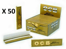 OCB SLIM Premium GOLD ORO 1 Boite 50 carnets de feuilles Longue à rouler NEUF