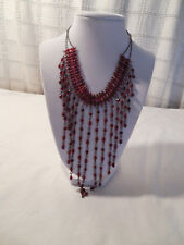 Nice ruby red plastic beaded bib necklace 16""