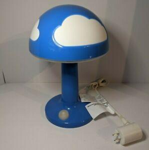 Vintage IKEA Skojig, Blue Cloud, Plastic Mushroom Bedside Table Lamp, Needs Bulb