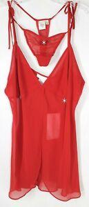 NWT Vintage Cerie Women's Medium Sheer Red Sexy Nightie Top & Tie at Side Thongs