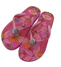 Pink Girls Diamond Flip Flops Floral Designer Summer Beach Shoes UK