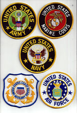 """US ARMY MARINES NAVY AIR FORCE COAST GUARD 4"""" HAT VEST PATCH SET VETERAN GIFT"""