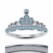 Jasmine Disney Princess Crown Ring Round Cut Multi-Stone 14K White Gold Finish 1