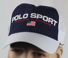 Polo Sport Ralph Lauren White Navy Baseball Ball Cap Hat Flag NWT