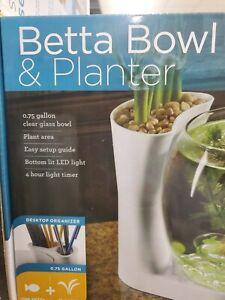 Elive Betta Fish Bowl & Planter Set Up Tank Kit White .75 Gallon LED Light Timer
