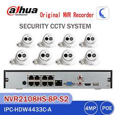 Dahua 8CH KIT NVR 2108HS-8P-S2 IPC-HDW4433C-A 4MP IP Camera MIC CCTV Home System
