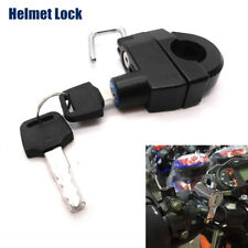 Universal Helmet Lock Hanger Bar With 2 Keys for Motorcycle Bike Scooter Black