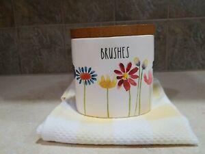 NEW Rae Dunn Bathroom Toothbrush Holder,  BRUSHES, Flowers, HTF