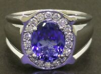 Heavy 14K white gold 3.57CTW diamond/10.6 X 8.6mm tanzanite men's ring size 10.5