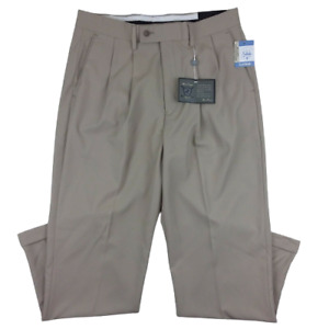 Alan Flusser NWT Golf Pants Men's Size 34X30 Chino Pleated Cuffed Wicking Beige