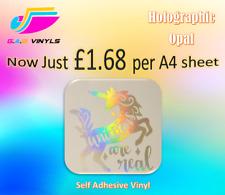 A4 Sheets- Holographic Opal Self Adhesive Vinyl Rainbow Effect Cricut/Silhouette