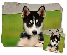 Husky Puppy Dog 'Love You Mum' Twin 2x Placemats+2x Coasters Set in, AD-H67lymPC