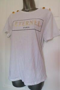 RIVER ISLAND...SIZE UK 16....WHITE & GOLD....'ETERNEL PARIS' LOGO T-SHIRT...LOOK