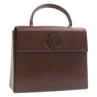 CARTIER Hand Bag Bordeaux Leather Auth gt484