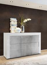 Credenza Moderna, Madia di Design, 3 ante, Bianco Lucido con frontali Beton