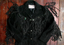 VTG SCHOTT BLACK SUEDE LEATHER FRINGED WESTERN JACKET BOHO HIPPIE BIKER UK 10/12
