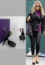 Fergie Temper Black Gold Leather Platform High Heel Pumps Open Toe Sandals 8.5