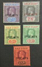 MOMEN: GOLD COAST SG #80s-84s 1913-21 SPECIMEN MINT OG H LOT #191444-392