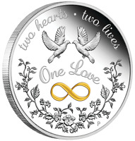 2021 One Love 1oz $1 SILVER PROOF COIN Perfect Valentine's Day Gift Collectible