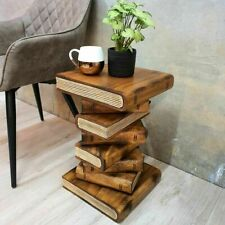 Wooden Side Table Indoor Plant Stand Outdoor Book Stack Design Natrual Painted