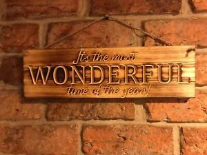 Most Wonderful time of the year Hanging Christmas burnt wood finish plaque sign