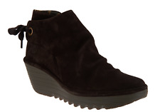 1*63 NEW FLY London Yebi Expresso Suede Ruched Ankle Boots Size 37
