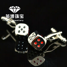 CLASSIC SILVER TONE GOD OF GAMBLERS DIE DICE CUFFLINKS VALENTINES MENS PARTY