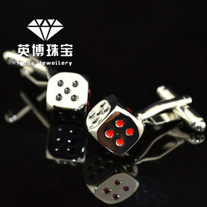 Classic Silver Tone God Of Gamblers Die Dice Cufflinks Halloween Mens Party