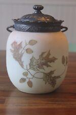 Antique Crown Milano Burmese Biscuit Jar Leaves Acorns Mount Mt.Washington