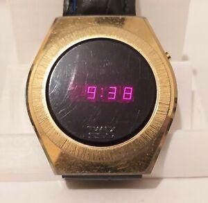 Gold Timex SSQ LED Digital Vintage Wrist Watch 1970's, Working