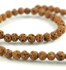 6MM LIGHT BROWN VOLCANIC BASALTIC LAVA GEMSTONE ROUND 6MM LOOSE BEADS 16""